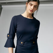 Warehouse, PONTE POPPER DRESS Navy 4
