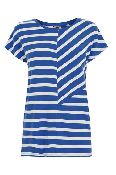 Warehouse, CUTABOUT STRIPE TOP Blue Stripe 0