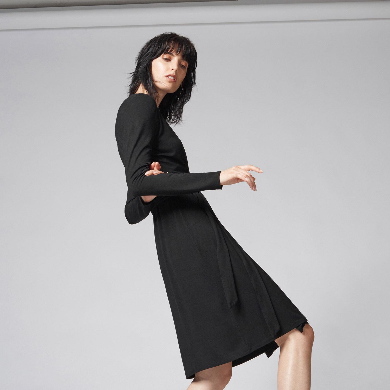 Warehouse, BELTED WRAP DRESS Black 1