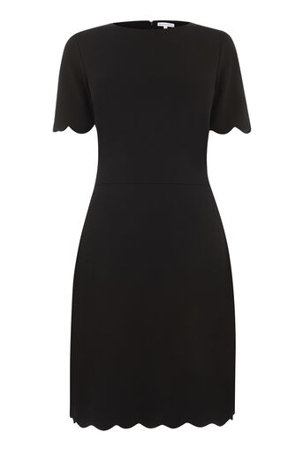 Warehouse, SCALLOP PONTE DRESS Black 0