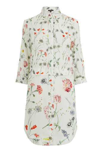 Warehouse, Scatter Floral Shirt Dress Neutral Print 0
