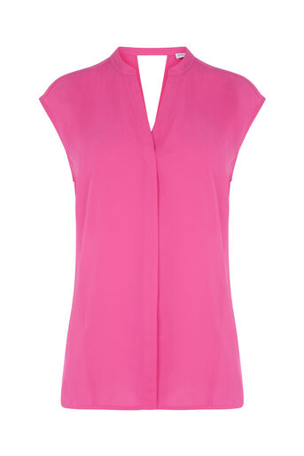 Warehouse, OPEN BACK SLEEVELESS BLOUSE Bright Pink 0
