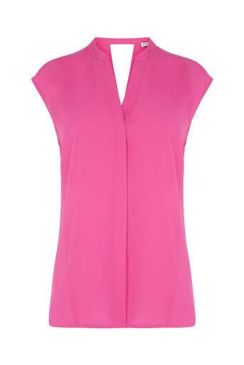 Warehouse, OPEN BACK SLEEVELESS BLOUSE Bright Pink 0