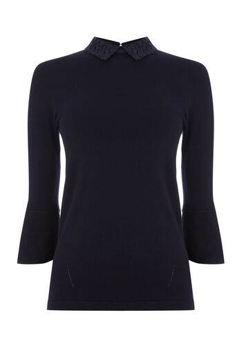 Warehouse, LACE COLLAR JUMPER Navy 0