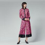 Warehouse, POPPY PRINT SILK TROUSER Pink Pattern 2