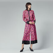 Warehouse, POPPY PRINT SILK TROUSER Pink Pattern 2