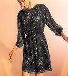 Warehouse, SPARKLE STAR DRESS Black Pattern 4