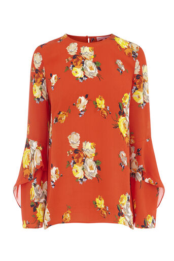 Warehouse, VICTORIA RUFFLE SLEEVE TOP Orange 0