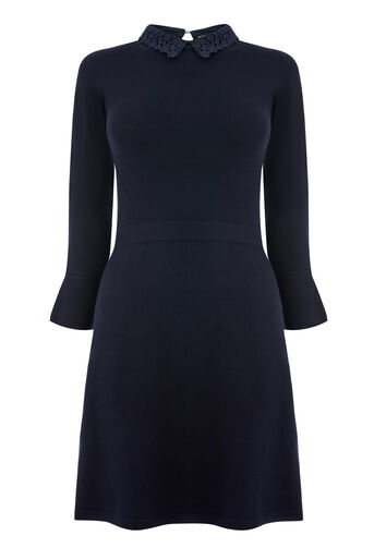 Warehouse, LACE COLLAR FLARE CUFF DRESS Navy 0
