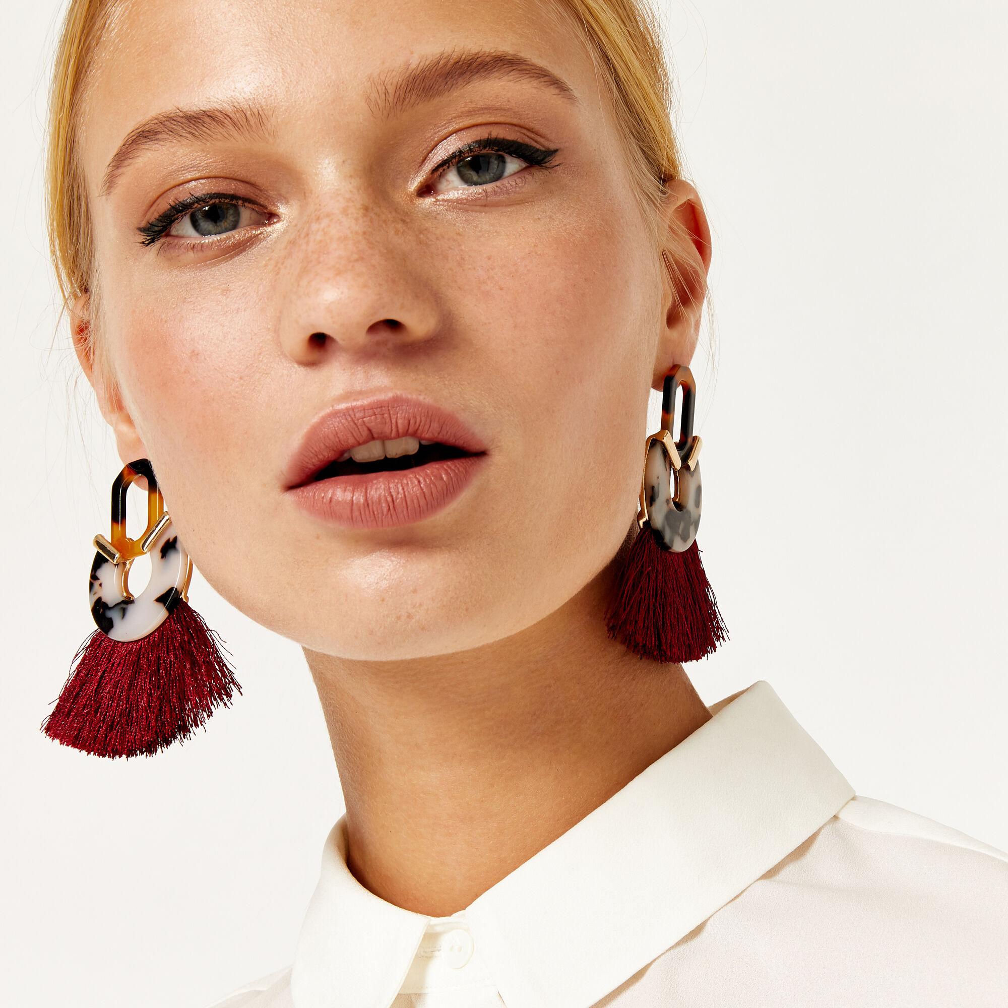 Warehouse, Resin Tassel Earrings Multi 1
