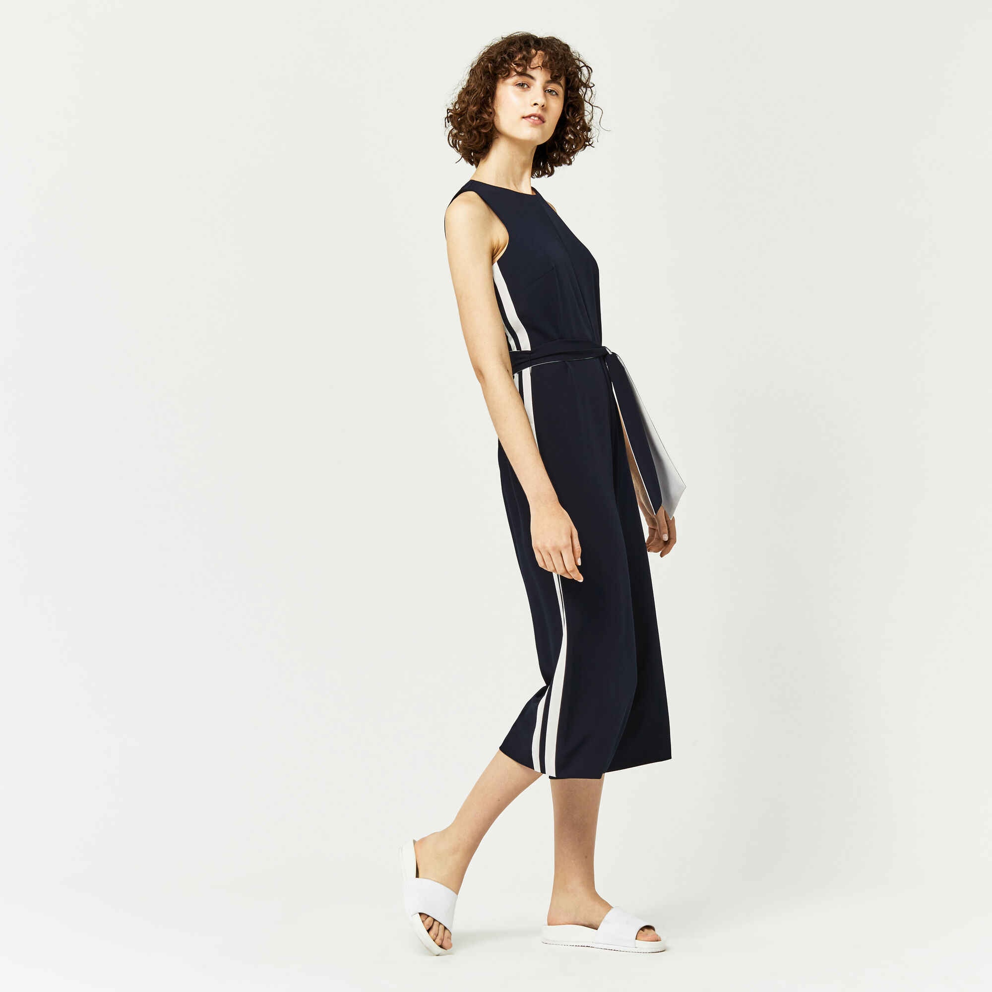 Warehouse, STRIPE SIDE JUMPSUIT Navy 1