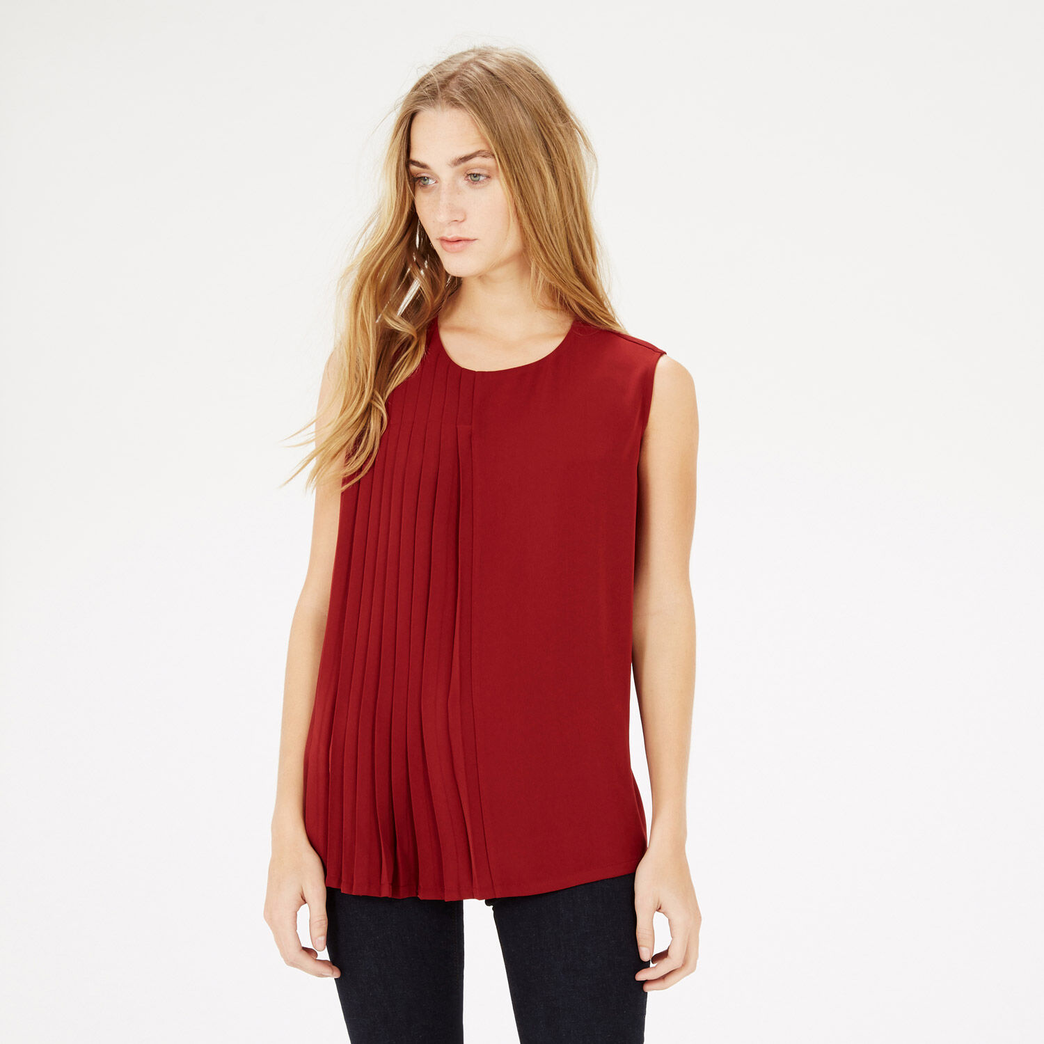 Warehouse, PLEAT FRONT SHELL TOP Dark Red 1