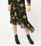 Warehouse, CARNATION PRINT MIDI DRESS Black Pattern 4