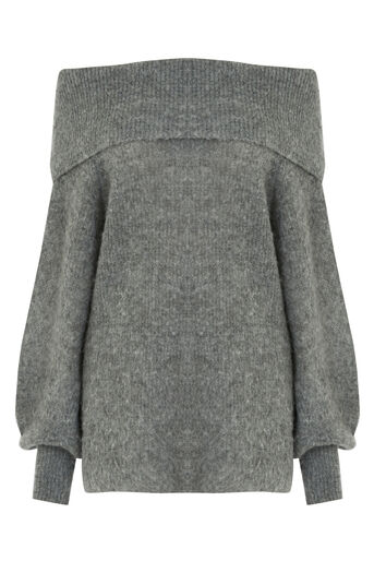 Warehouse, DEEP BARDOT MOHAIR JUMPER Dark Grey 0