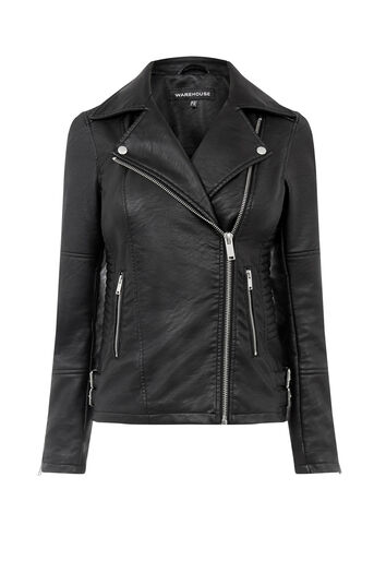Warehouse, Faux Leather Biker Jacket Black 0