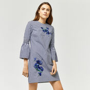 Warehouse, DELIA EMBROIDERY GINGHAM DRESS Navy 1