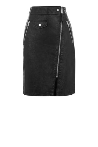 Warehouse, Biker Zip Skirt Black 0