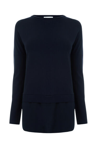 Warehouse, LONG SLEEVE WOVEN HEM TOP Navy 0