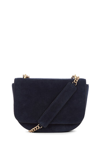 Warehouse, CHAIN DETAIL SUEDE SADDLE BAG Navy 0