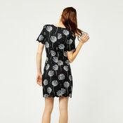 Warehouse, DANDELION PRINT SCALLOP DRESS Black Pattern 3