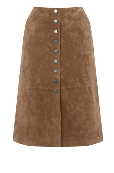 Warehouse, Suede Button Midi Skirt Tan 0
