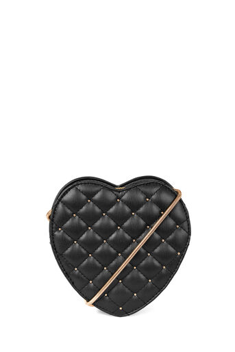 Warehouse, QUILTED MINI HEART BAG Black 0