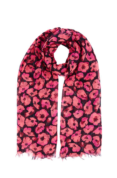 Warehouse, POPPY PRINT SCARF Pink Pattern 0