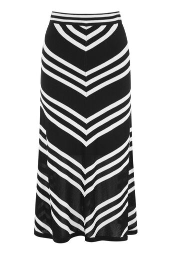 Warehouse, MONO CHEVRON SKIRT Black Stripe 0