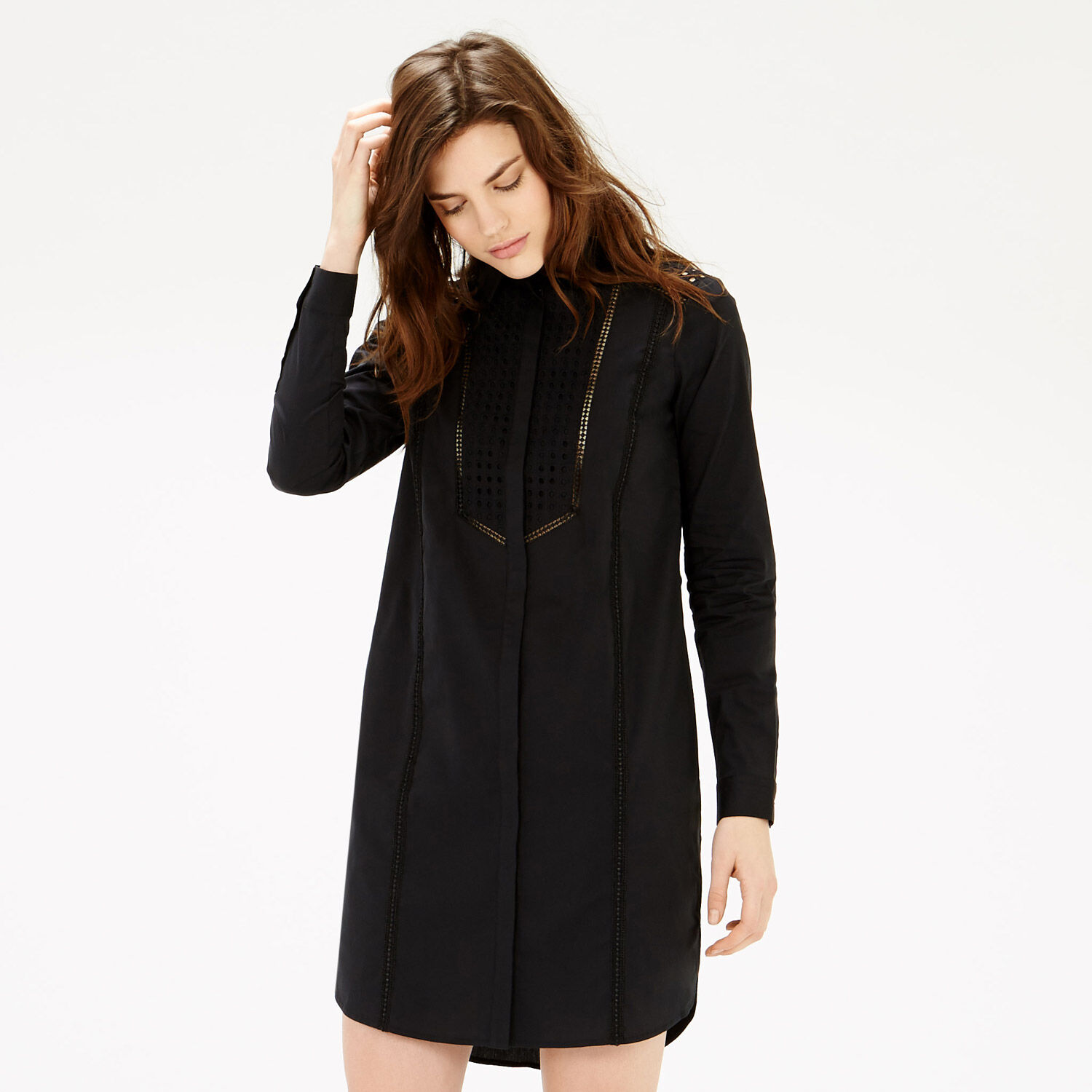 Warehouse, Broderie Mix Shirt Dress Black 1