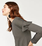 Warehouse, STRIPE FRILL LONG SLEEVE TOP Black Stripe 1