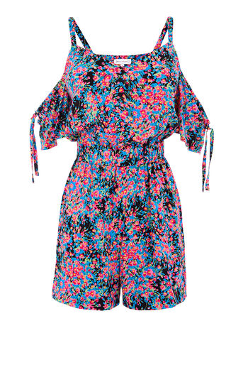 Warehouse, FLOWER BURST PRINT PLAYSUIT Multi 0
