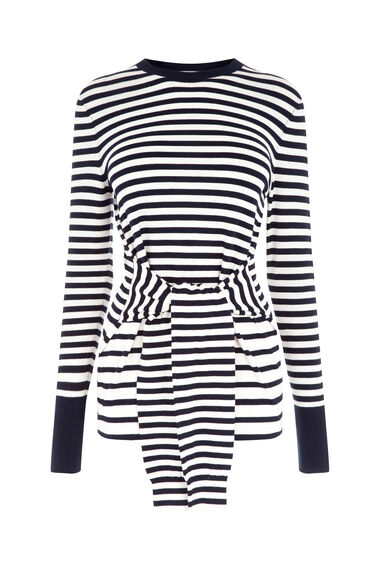 Warehouse, STRIPE TIE WAIST JUMPER Navy 0