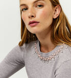 Warehouse, EMBELLISHED PEARL JUMPER Light Grey 4