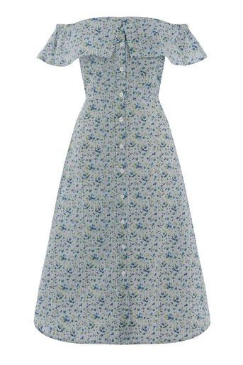 Warehouse, DITSY STRIPE TIE SIDE DRESS Blue Pattern 0