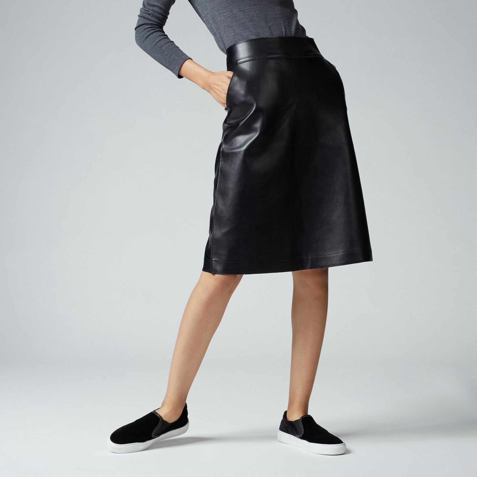 Warehouse, Clean Faux Leather Midi Skirt Black 1