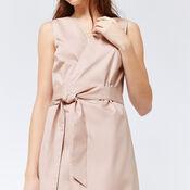 Warehouse, PEPLUM HEM WRAP DRESS Light Pink 4