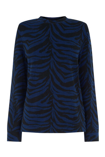 Warehouse, ZEBRA JACQUARD SWEAT Blue Pattern 0