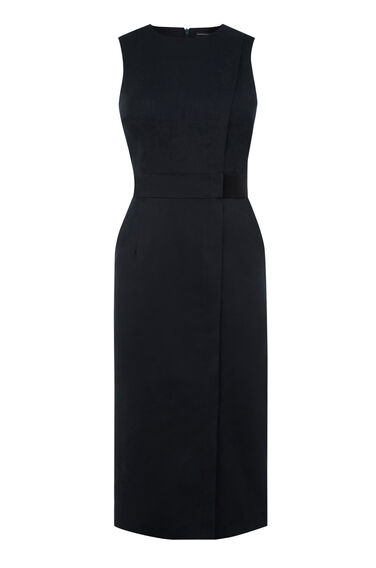 Warehouse, COMPACT COTTON DRESS Navy 0