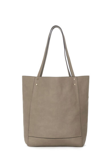 Warehouse, STUD PANELLED SHOPPER BAG Mink 0