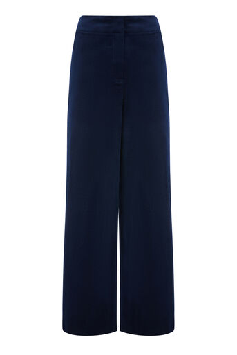 Warehouse, WIDE LEG CORD TROUSERS Navy 0