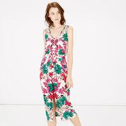 Warehouse, Floral Wrap Midi Dress Neutral  Print 1