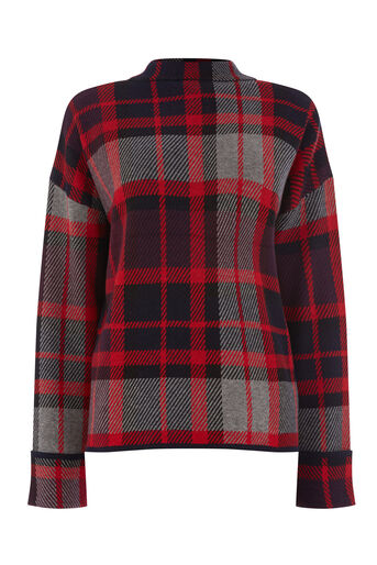 Warehouse, CHECK JUMPER Red Pattern 0