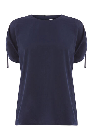 Warehouse, RUCHED SLEEVE TOP Navy 0