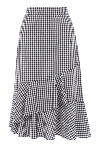 Warehouse, GINGHAM RUFFLE SKIRT Black Pattern 0