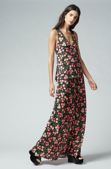 Warehouse, CHERRY BLOSSOM MAXI DRESS Black Pattern 1