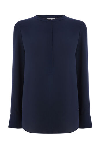 Warehouse, LONG SLEEVE BUTTON SIDE BLOUSE Navy 0