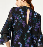 Warehouse, GILLY FLORAL TIERED SLEEVE TOP Black Pattern 4