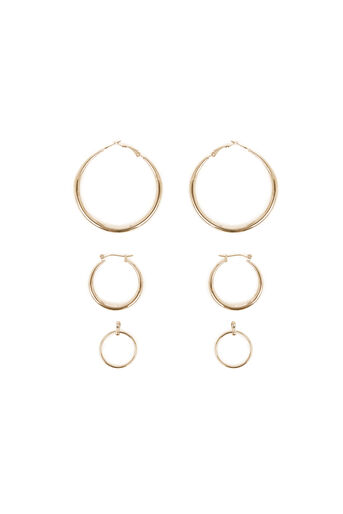 Warehouse, HOOP 3PK EARRINGS Gold Colour 0