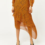 Warehouse, KYOTO FLORAL SILK MIDI DRESS Orange 4