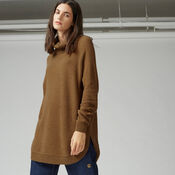 Warehouse, RIB CURVE HEM COWL NECK JUMPER Mustard 1